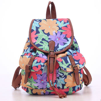 Purple Flower Travel Bag Canvas Lightweight Casual Backpack