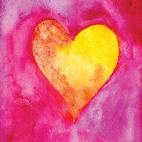 Golden Heart Watercolor Painting Valentine's Day Card Fuschia and Gold Neon