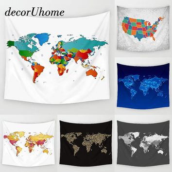 DecorUhome Geometry World Map Wall Hanging Decor Pointer Anchor Printed Carpets Home Decor Hanging Living Printing Wall Tapestry