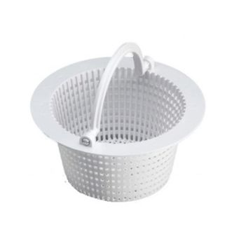 "6.25"" Round White Swimming Pool Skimmer Basket with Handle"