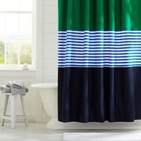 Colorblock Shower Curtain, Navy/Green