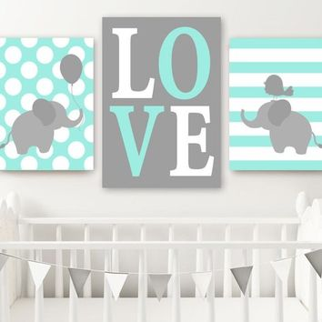 Boy ELEPHANT Nursery Wall Art, Canvas or Prints, Baby BOY Elephant Decor, Twin Boy Bedroom Decor, Aqua Gray Elephant Wall Decor Set of 3