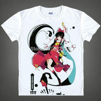 Japanese The Touhou Project anime  t-shirt anime Reimu Hakurei Marisa Kirisame cotton shirt Cosplay Costume anime clothing