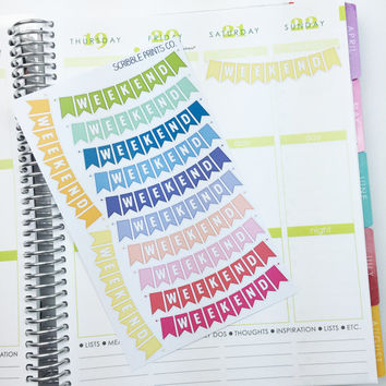 12 Weekend Banners Die-Cut Stickers // (Perfect for Erin Condren Life Planners)