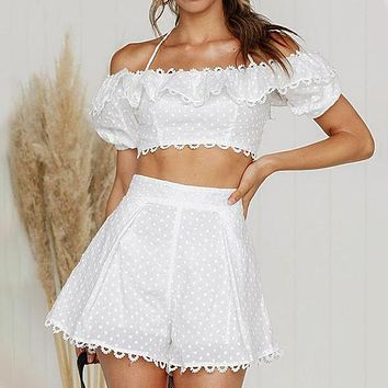 Fashion Embroidery Polka Dot Shorts Women Suit Sexy Strap Ruffle Crop Tops Beach Holiday Set