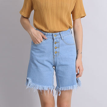 Female  Denim Knee-Length Pants Women Clothing High Waist Autumn Summer Tassel Bottom Ladies Button Rough Selvedge Short Jeans
