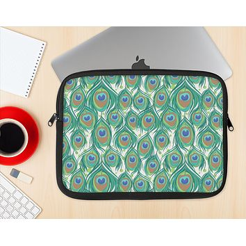 The Peacock Green Feather Bundle Ink-Fuzed NeoPrene MacBook Laptop Sleeve