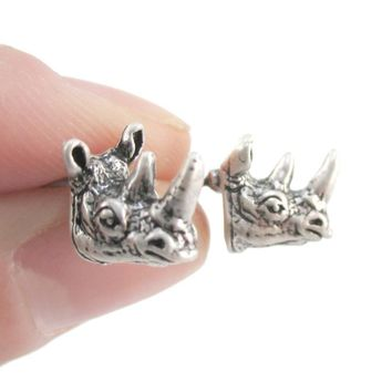 Miniature Rhino Shaped Realistic Stud Earrings in Silver | Animal Jewelry