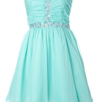 Aqua Chiffon Gem Dress - dresses - older girls (8-16)  - Children
