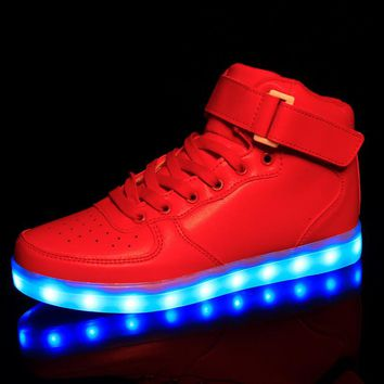 Unisex Lights Up Led Luminous Shoes High Top Glowing Casual Shoe