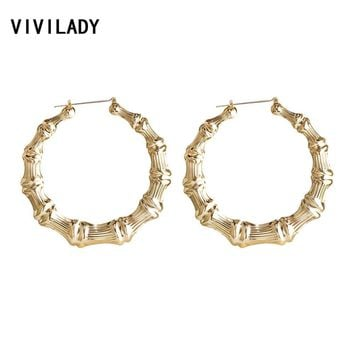 VIVILADY Punk Big Statement Bamboo Round Hoop Earrings Women Gold Color Basketball Wives Bijoux New Boho Jewelry Party Gift