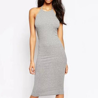 Gray Halter Neck Backless Bodycon Midi Dress