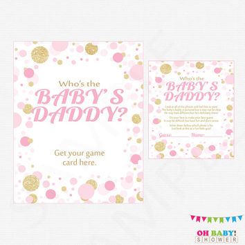 Pink and Gold Baby Shower Who's the Baby's Daddy Baby Shower Games Girl Guess the Baby Daddy Pink and Gold Confetti Download CB0003-pg