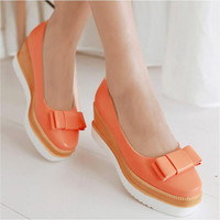 Latest Sweet Lady's Pumps Autumn Round Toe Casual Platform Wedges Female Butterfly Knot Orange Shoes