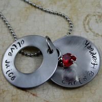 """Personalized Hand Stamped """"Olive Juice"""" Peek-a-Boo Stainless Steel Necklace"""