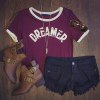 Dreamer Top in Maroon