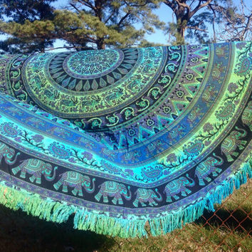 Floral Elephant Mandala Tapestry Round Beach Towel Roundie Boho Hippie Gypsy Blanket Wedding Tablecloth Bachelorette Bridesmaid Gift Throw