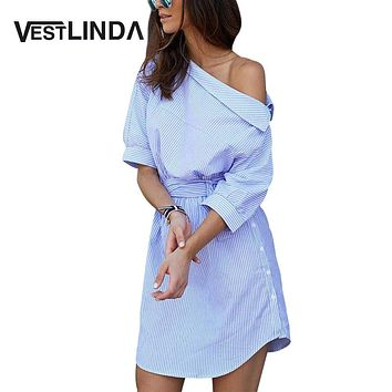 VESTLINDA Shirt Dress Women Summer Vestidos De Festa One Shoulder Half Sleeve Stripper Dress Sashes Mini Short Casual Dress