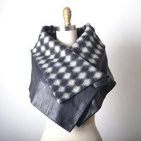 Leather and Cashmere Cowl  - Women's Leather Scarf - OOAK Leather Cowl - Leather Cape