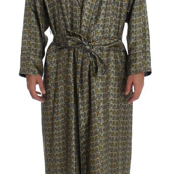 Green Chair Print SILK Robe Coat Nightgown
