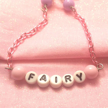 Kawaii Fairy Beaded Chain Bracelet, Cute, Pink and purple, Fairy Kei, Pastel Decora,