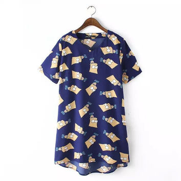 Blue Simpsons Print Short-Sleeve Shift Dress