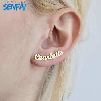 Personalized Custom Name Earrings Customize Initial Cursive Nameplate Stud Earring Gift for Women Best Friend Girls