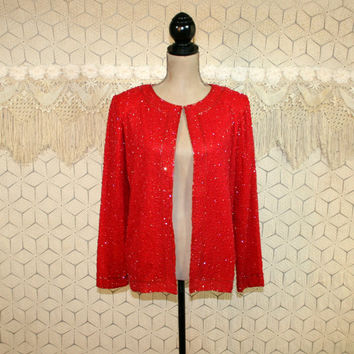 Red Beaded Cocktail Jacket Silk Cardigan Evening Formal Dressy Womens Holiday Clothing Red Jacket Beaded Silk Jacket Medium Womens Clothing