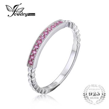 JewelryPalace 925 Sterling Silver  Pink Sapphire Rope Band Stackable Ring 22 PC Pink Engagement Ring  for Women