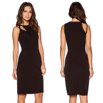 Black Sleeveless Cut-out Mid Dress