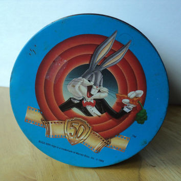 Bugs Bunny Tin 1989 Happy Birthday Bugs Jelly Bean Container 50th Birthday Celebration Brach's Candy Tin Warner Bros. Cartoon Characters