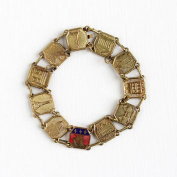 Vintage Brass French Panel Bracelet - 1940s Historical Attractions Eiffel Tower Souvenir Tourist Paris France Coat of Arms Charm Jewelry