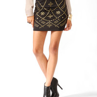 Studded Mini Scuba Skirt