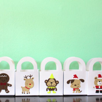 Set of 12 Mini Christmas Gift Bags -  Christmas Penguin, Gingerbread Man, Reindeer, Monkey, Christmas Dog, Santa Bear, Christmas Panda
