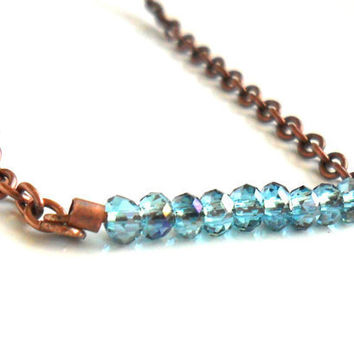 Necklace bar copper chain blue horizon faceted crystal by Daniblu