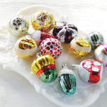 Small Vintage Assorted Set Ornaments Set of 12, Christmas Ornaments, Blown Glass Ornaments Holiday Decor, Collectible, Tree Decorations