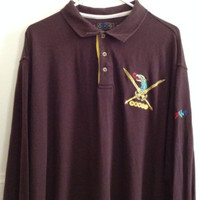 Coogi Shirt Mens Size 4XL Brown Long Sleeve Polo Rugby Logo 100% Polyester