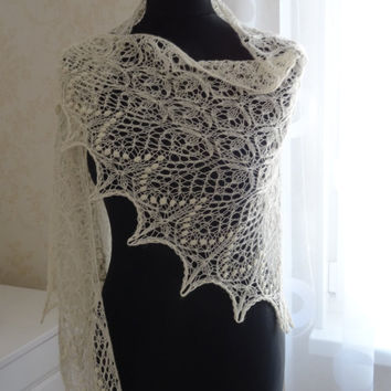 Hand knitted triangular lace shawl, shawlette,wrap, scarf,Estonian stitch pattern,luxurious baby alpaca and silk MADE TO ORDER