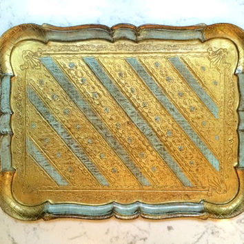 Vintage Florentine Tray by O.F.M Italy in Blue and Gold