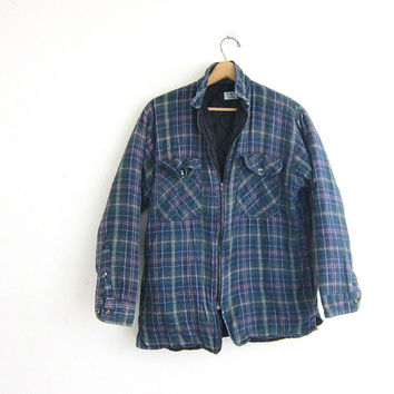 Vintage Plaid Flannel Jacket / Grunge Shirt / blue Button up insulated shirt / quilted coat