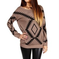 Mocha/Black Southwest Print Sweater