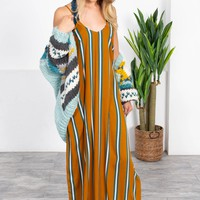 Bronzed Turquoise Stripe Max Dress
