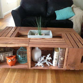 Long Stained Crate Coffee Table by CustomPaintedGlass on Etsy