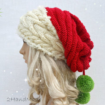 Santa Hat Adult Unisex Cable Knit Oversized Beret Baggy Neck Warmer Slouchy Christmas  Santa Hat Unisex f23adb47e2f