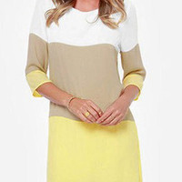 Yellow and Khaki Color Block 3/4 Sleeve Shift Dress