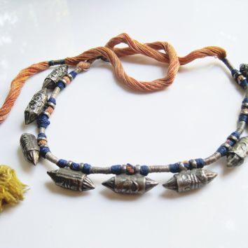Antique Indian Silver Necklace with Taviz Amulets
