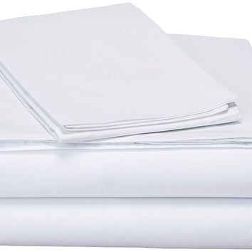DaDa Bedding Luxury Solid White Fitted & Flat Bed Sheets Set & Pillow Cases Sham Covers (FSFS098765)