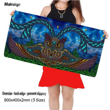 Mairuige Shop 90*40cm Cute Owl Gaming Mouse Pad Large Cartoon Anime Rubber Mouse Pad Keyboard Mat Table Mat for Dota 2 CS Go