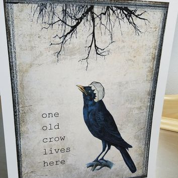 Crow art print unframed bird wall art birthday gift decor