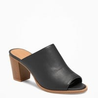 Faux-Leather Open-Toe Mules for Women | Old Navy